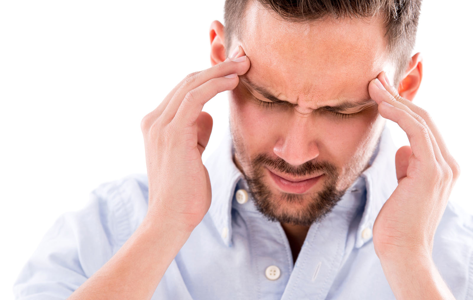 man suffering from a massive headache